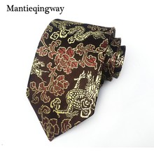 Mantieqingway Neck Tie 8 cm Neckwear Chinese Dragon & floral Neckties Wedding Business Suits Ties for Men Gravatas Corbatas Gift(China)