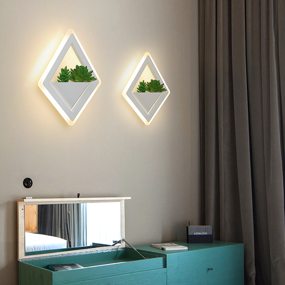 Nordic plant wall lights Creative bedside bedroom sconce living room simple modern aisle acrylic modern  Indoor LED wall lamp