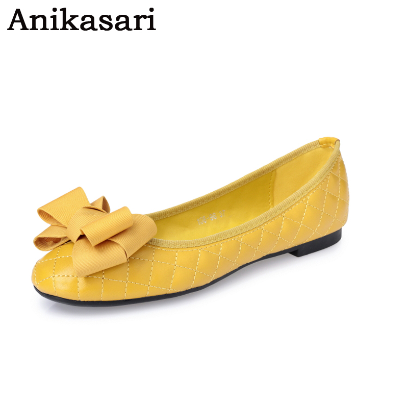 Plus Size Leather Flat Shoes Women Bow Ballerina Shoes For Woman Slip On Shallow Ballet Flats Ladies Yellow Black Shoes Loafers odetina 2017 new women pointed metal toe loafers women ballerina flats black ladies slip on flats plus size spring casual shoes