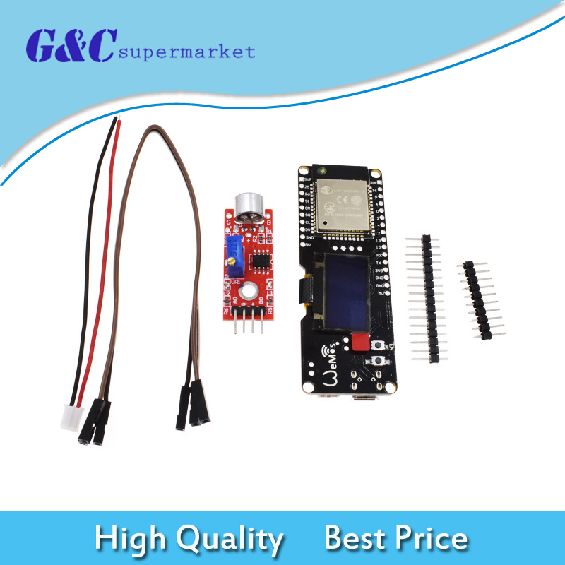 US $10 0 6% OFF TTGO Wemos ESP32 OLED WiFi Module 0 96'' OLED Display Music  Spectrum Analyzer Kit NEW-in Integrated Circuits from Electronic