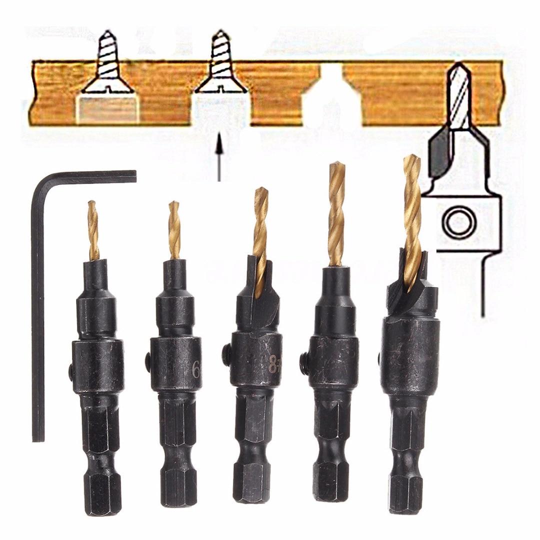 5pcs 5~12mm HSS Woodworking Countersink Chamfer Drill Bit