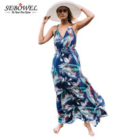 Turquoise Tropical Leaf Print Sexy V Neck Maxi Dress