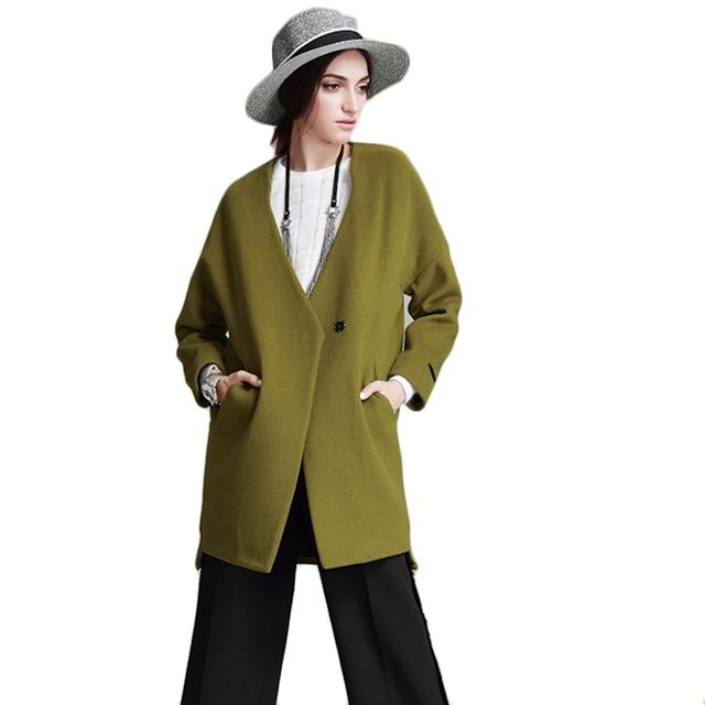 2017 Spring New Arrival Women Regular Wool Coat V-Neck Women's Cashmere Coats Jacket Solid Female Dust Coat Laides Parka F1899