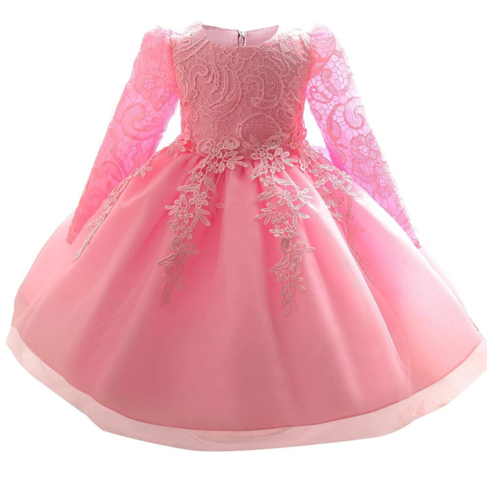 98e0831592 Long Sleeve Newborn Infant Lace White Dress for Princess 1st 2nd 1T  Birthday Wedding Party Pink Dresses Girl Christening Gowns