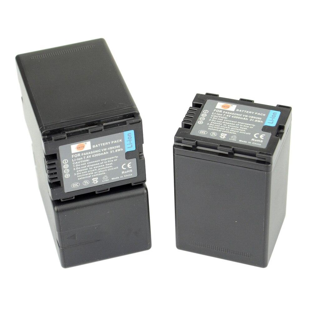 DSTE 3pcs VW-VBN390 Rechargeable Battery for Panasonic HDC-SD800GK TM900 HS900 SD900 Camera