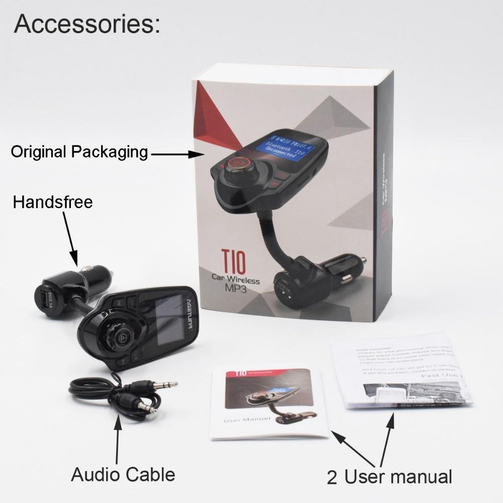 AGETUNR T10 Bluetooth Car Kit Handsfree Set FM Transmitter AUX Car MP3 Music Player 5V 2.1A USB Charger