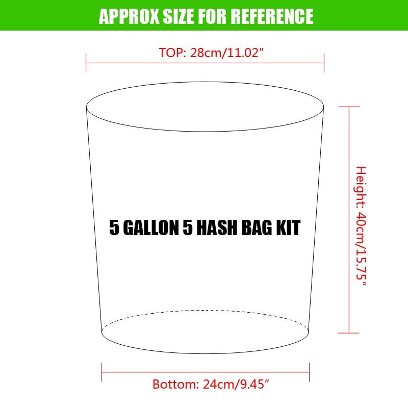 5 gallons 5 sac Kit presse gratuite écran bulle glace sacs 5 gallons hachage herbe huile Extraction Oxford filtre sacs jardin cultiver sac 5 couleurs - 2