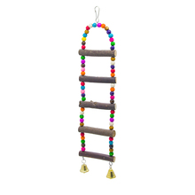 1Pcs Pet Supplies 45cm size Wooden Products Parrots Suspension Bridge with Leather Log Ladder Gnawing Bird Toys Climbing