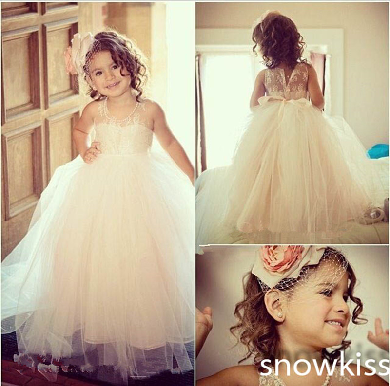 Lovely Haute Couture Scoop Sleeveless Tulle White&Ivory A-line long Gowns Tutu Flower Girl Dress Party Birthday Pageant new white ivory nice spaghetti straps sequined knee length a line flower girl dress beautiful square collar birthday party gowns