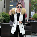 Women Winter Vest Waistcoat 2016 Long Vest Jacket Sleeveless Artificial Fur Hooded Collar Cotton Down Warm Vest Female BN354BN