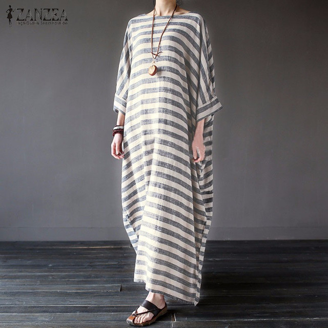 Women Elegant Striped Print Dress 2017 Spring ZANZEA Casual Loose O Neck Batwing Sleeve Maxi Long Dress Vestidos Plus Size