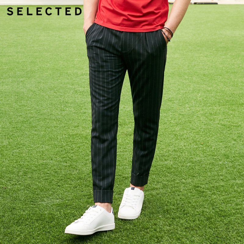 SELECTED Men's Spring Wool-blend Striped Stiff Casual Pants S|419114548