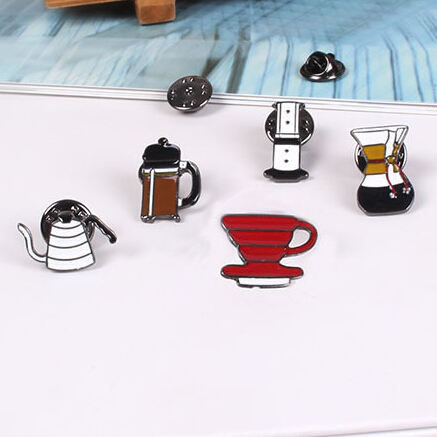 2016 Shirt Collar Pin Brooch Fashion cute Hand Washed Pot Philharmonic Filter Cup Coffee Chemex Brooch Pins mini button brooches