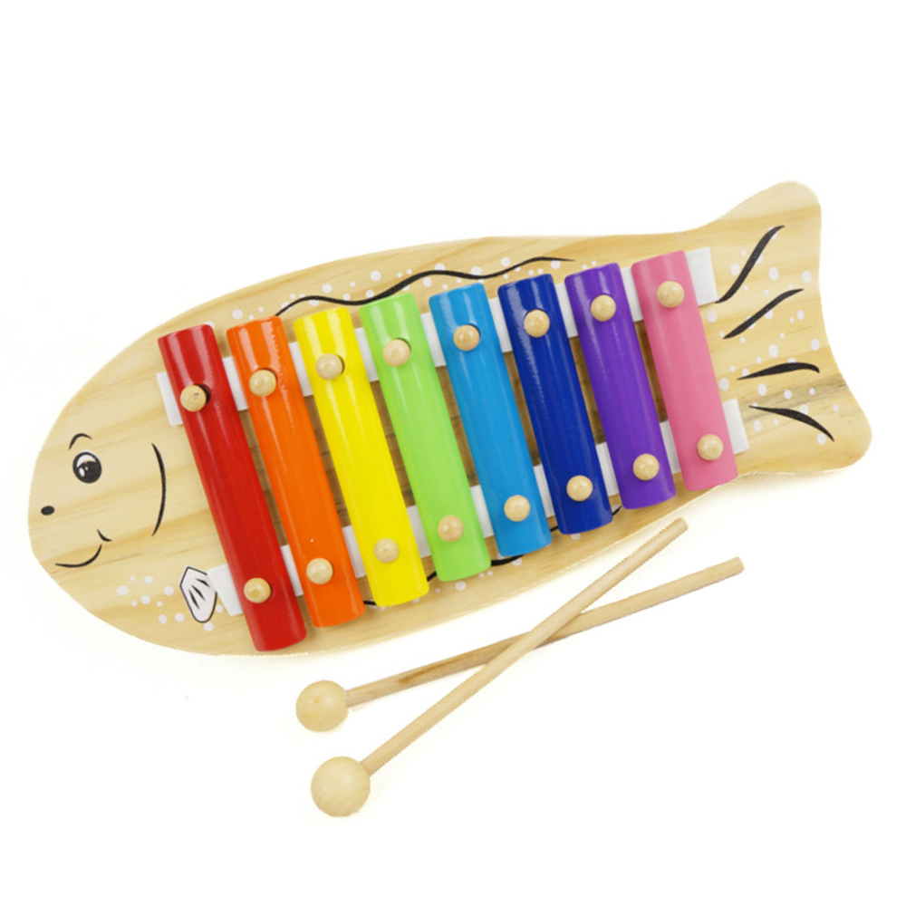 Kids Baby Wooden Fish Shape Knocking Musical Educational Xylophone Instrument Toy with 2 Wooden Sticks for Over 12 Months Babies