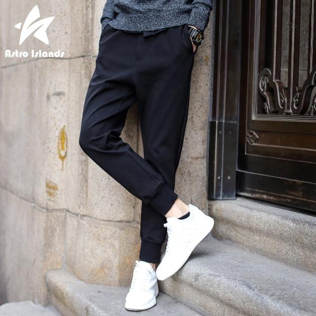 2016 Осень Гарем Брюки Мужчины Хлопка Случайные Свободные Мужские Бегунов Сплошной Черный Карандаш Брюки Тренировочные Брюки Мода Марка Одежды P320