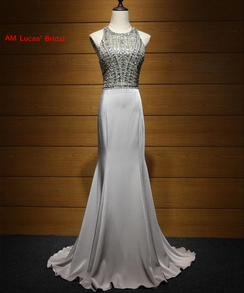 New Grey 2017 Mermaid Evening Dress Open Back Beaded Rhinestones Formal Evening Gowns For Wedding Party