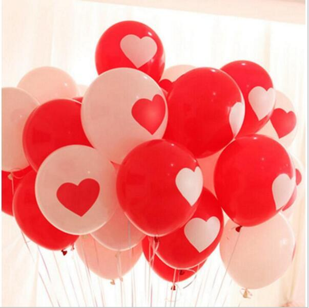 10pcs/lot Romantic Love Heart Red White Latex Balloon Inflatable Air Balls Wedding Birthday Party Decoration Helium Balloons