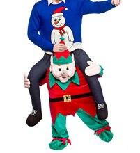 4ac00add467 Elf Transporter de me Rouler sur L épaule Piggy Back Mascotte Costume  Esprit Fantaisie Robe Fête De Noël Drôle Pantalon