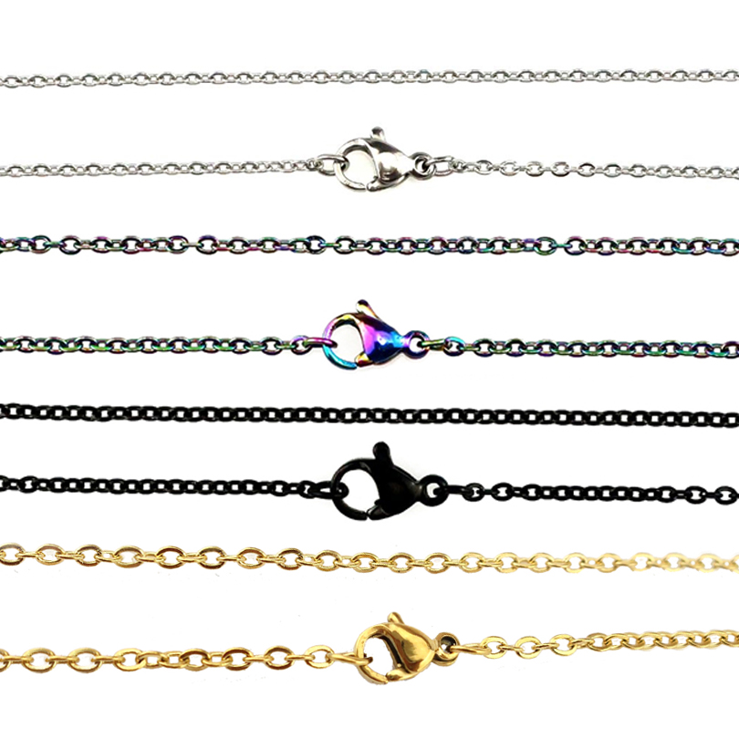 5x/lot 2mm Stainless Steel Chains Necklace 50cm 60cm 80cm 90cm Rainbow Silver Gold Color Link Chain Jewelry Making