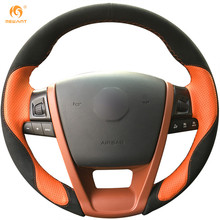 MEWANT Black Suede Orange Leather Car Steering Wheel Cover for MG6 MG 6