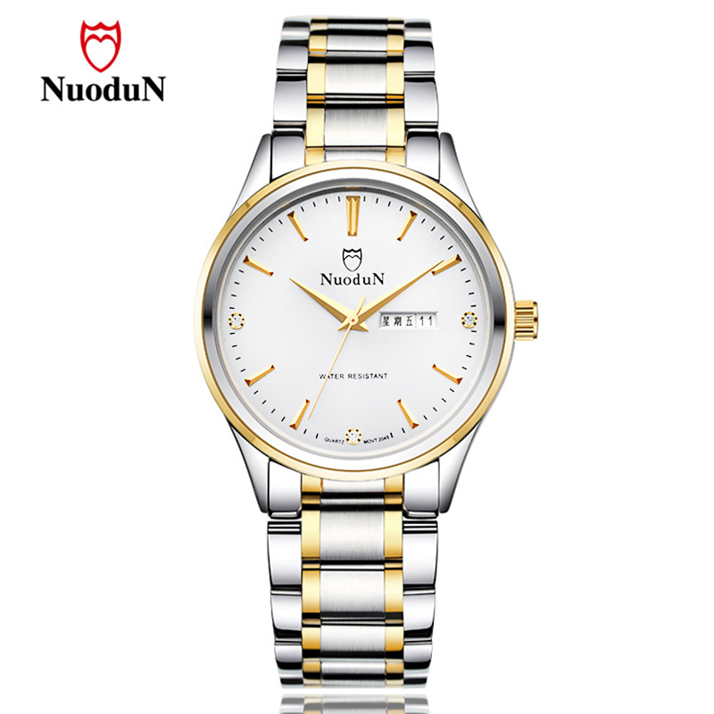 Nuodun Top Brand Luxury Watch Men Women Stainless Steel Lover's Quartz Watches Date Clock Fashion Wristwatch Couple Relogio 2045 men watches top brand luxury day date luminous hours clock male black stainless steel casual quartz watch men sports wristwatch
