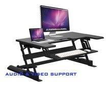 VZM-LD02 Altura Ajustável Sit/Stand Riser Mesa Mesa Do Laptop NotebookWith Strechable a Bandeja do Teclado