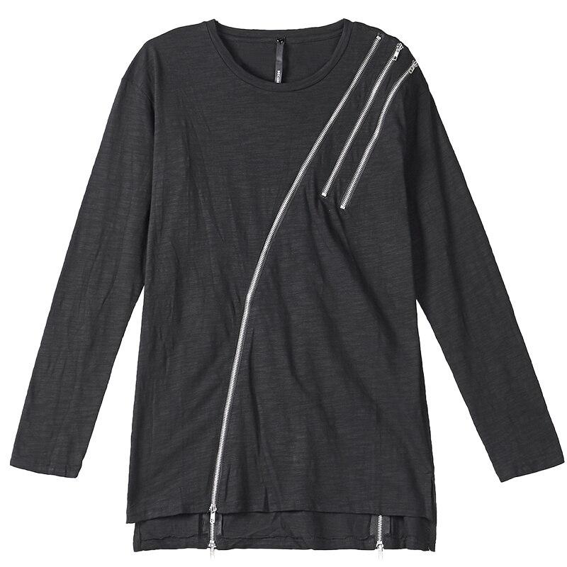 Асимметричная хлопковая футболка с длинными рукавами, Готическая мужская темно индивидуальная футболка с круглым вырезом, уличная Мужская футболка, мода 2018 - 4