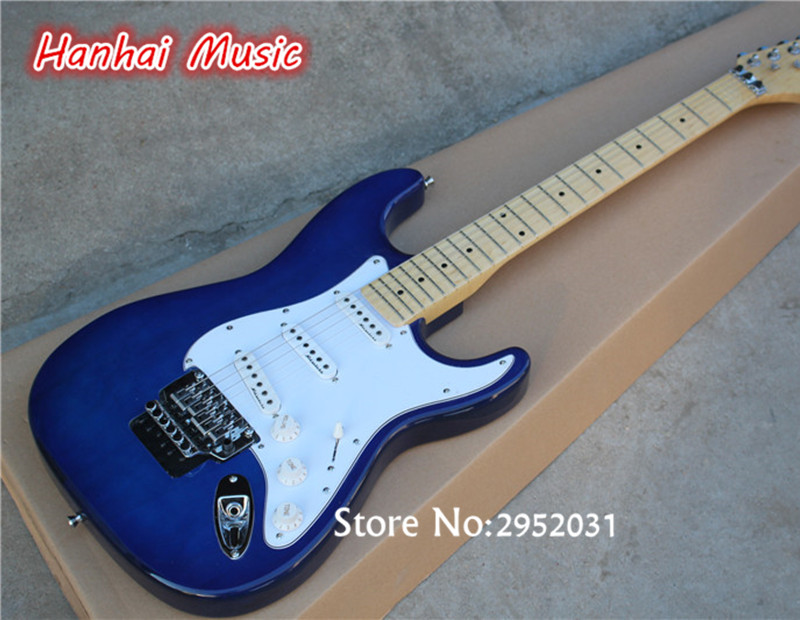 Hot sale custom electric guitar dark blue color floyd rose for Single blue rose for sale