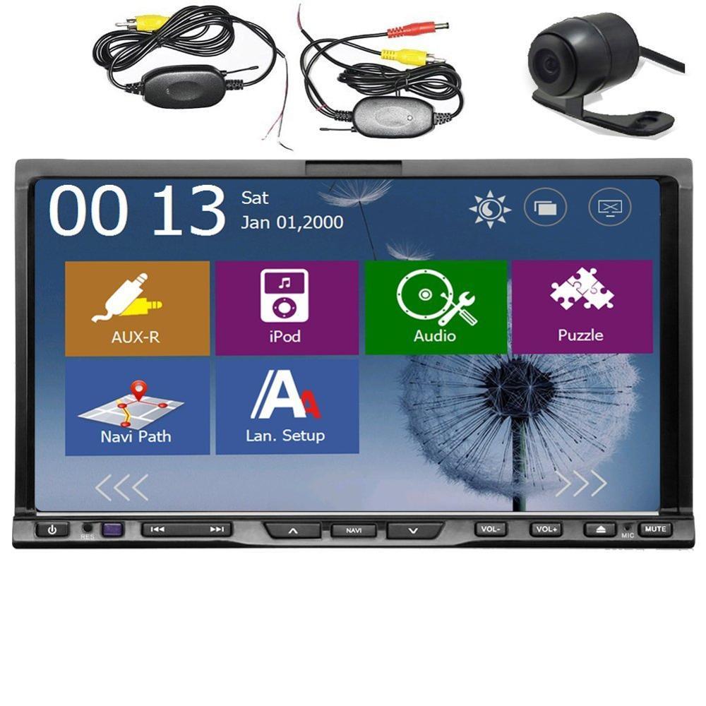 Lecteur DVD de voiture Bluetooth Double DIN 7 pouces avec Radio de Navigation GPS pour écran coulissant universel USB/SD Aux stéréo de voiture