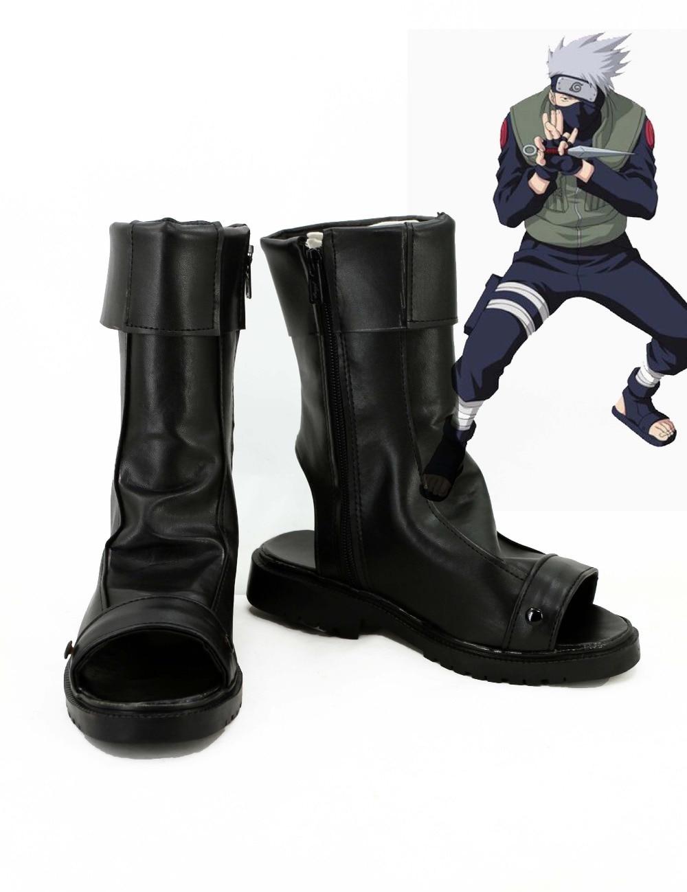 Hot Anime Naruto Kakashi Cosplay Costume Boots Shoes Christmas Party New Coming Boy Shoe Black