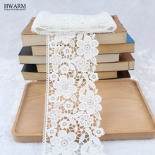 african lace fabric ribbon wedding decoration trim DIY 2yard New water-soluble hollow milk curtain white mesh embroide