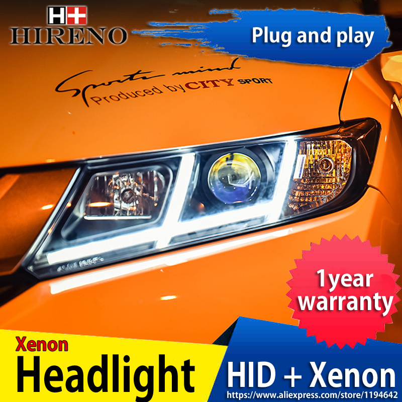Hireno Headlamp for 2014-2017 Honda City Headlight Headlight Assembly LED DRL Angel Lens Double Beam HID Xenon 2pcs hireno car styling headlamp for 2003 2007 honda accord headlight assembly led drl angel lens double beam hid xenon 2pcs