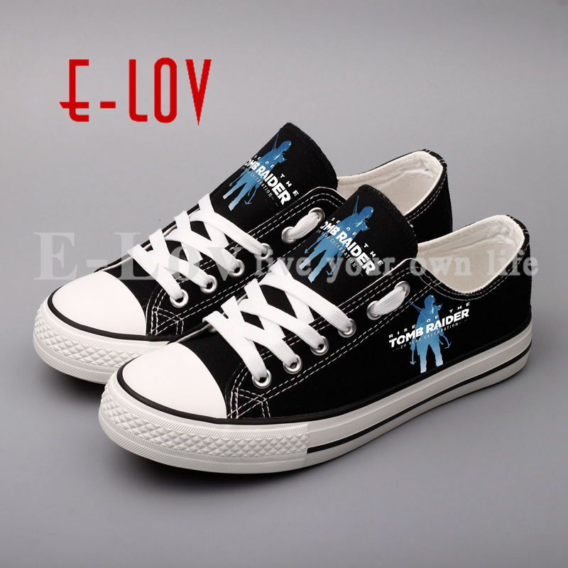 E-LOV Hot Game Printed Canvas Shoes Hip Hop Cool Unisex Casual Flat Espadrilles Customized for Valentine printed assassins creed canvas shoes fashion design hip hop streetwear unisex casual shoes graffiti women flat shoe sapatos