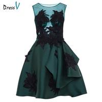 Dressv Dark Green Cocktail Dress Cheap Scoop Neck A Line Sleeveless Graduation Party Dress Elegant Fashion