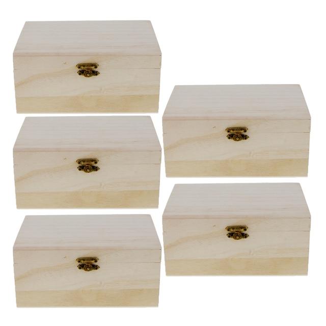5 Pieces Plain Unpainted Natural Wooden Storage Box Memory Chest Craft Boxes