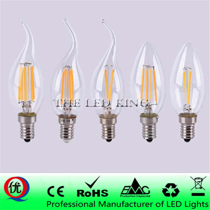 LED Candle Bulb E14 2W 4W 6W AC 220V 110V Retro antique Glass Edison Lamp Vintage C35 Filament Light 360 Degree