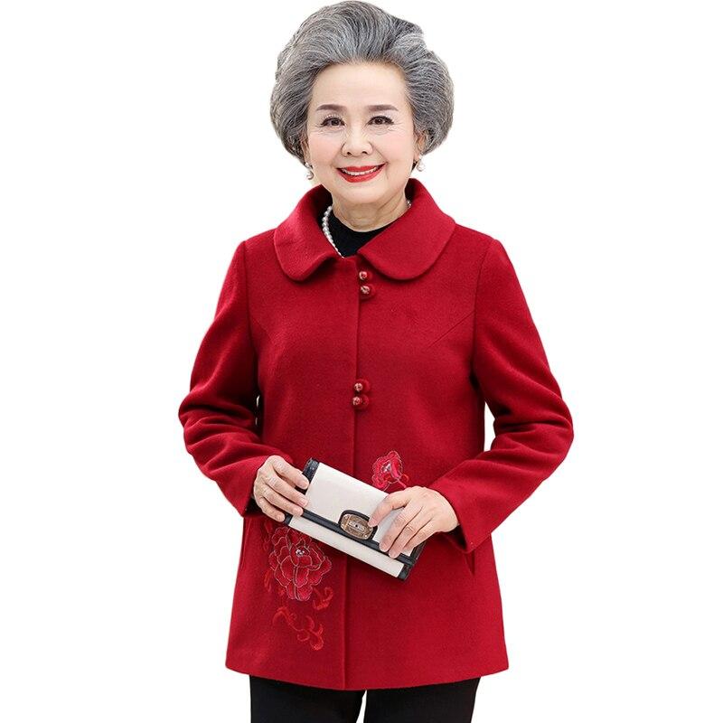Printemps Mode Femmes La Veste Manteau Vert Taille 5xl M Nw1245 Plus Survêtement Fleurs Brodé 2019 Automne Laine rouge Décontractée XPqAB7Bw