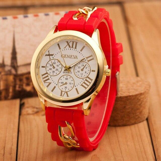 Women's Wrist Watches 7color Silicone Strap Bracelet Watch Rose Gold Quartz Watc