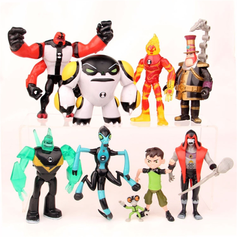 9pcs/set Ben 10 Ben Tennyson Four Arms Grey Matter Kineceleran Diamondhead Heatblast PVC Action Figures Kids Toys Gifts