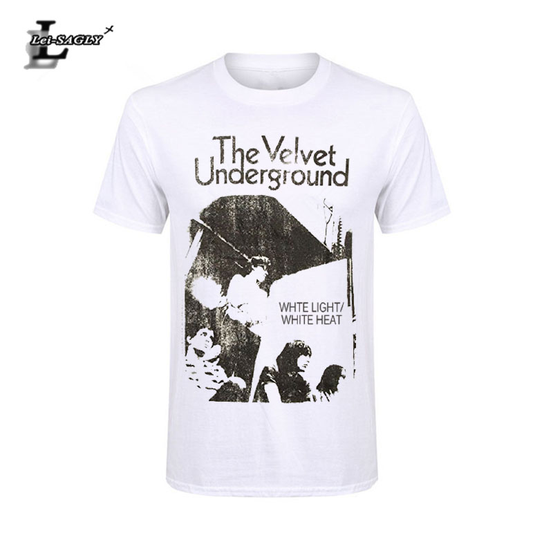 Lei-SAGLY Velvet Underground Men's White Light/White Heat Slim Fit   T  -  Shirts   Vintage   T     Shirts   Men Clothing Free Shipping Top Tees
