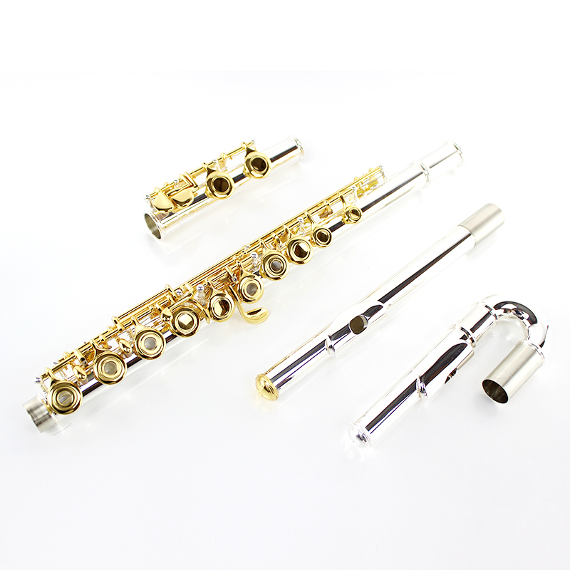 Hot Sale Flute 271S White Copper Silver Plated Tube Gold Plated Key Flute 16 Open Hole Musical Instrument With E Mechanism Case vertu signature s design white gold реплика москва