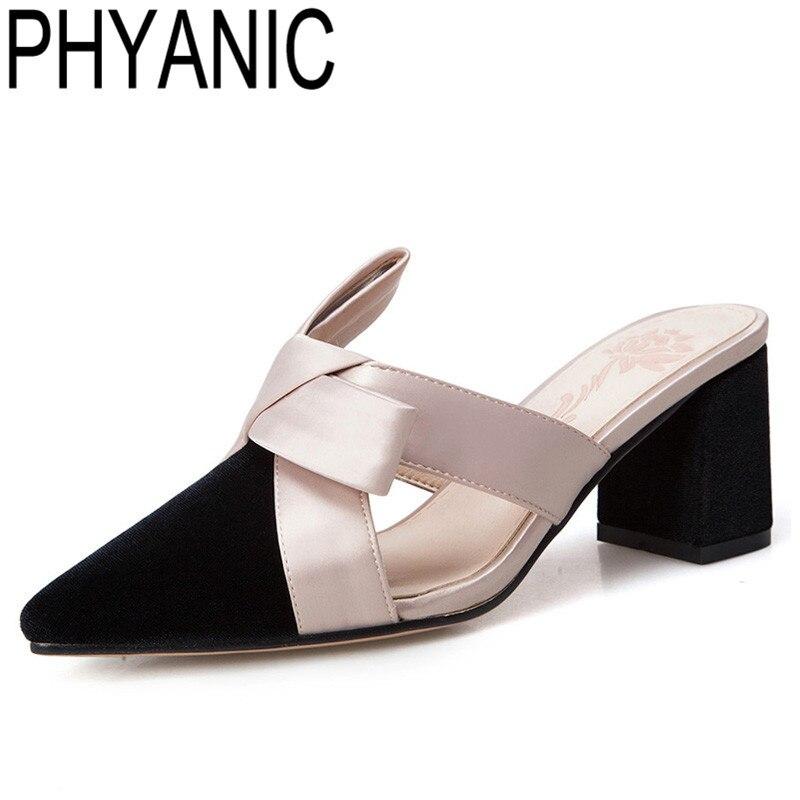 Phyanic летние женские шлепанцы острый носок босоножки на высоком каблуке Женская обувь с бантом Шлепанцы женские Sandalias Zapatos Mujer PHY35013