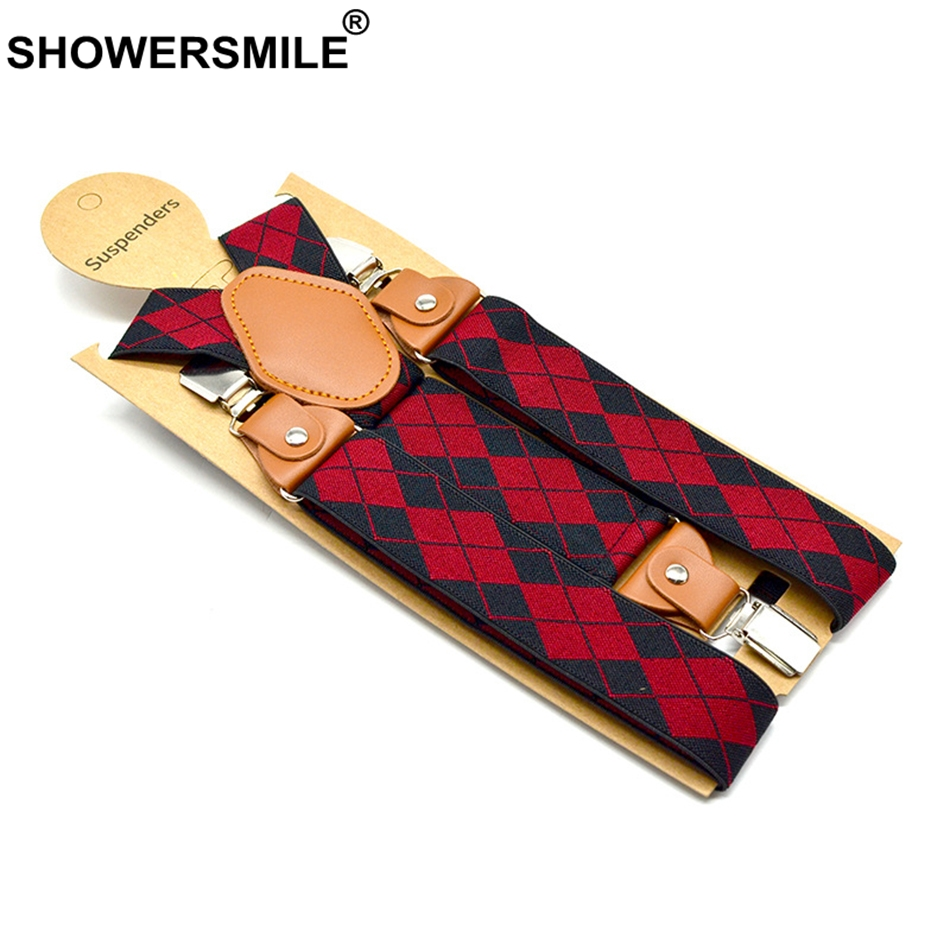 SHOWERSMILE Suspenders Man For Pants Black Red Argyle Adjustable Y Back Suspender Belt 3 Clips With Leather Male Braces