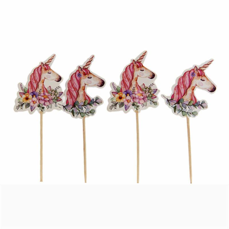 24 шт Единорог вставка для торта девичник Единорог для вечеринки вечерние счастливый день рождения, детский душ вечерние принадлежности DIY Unicorno натальные деко