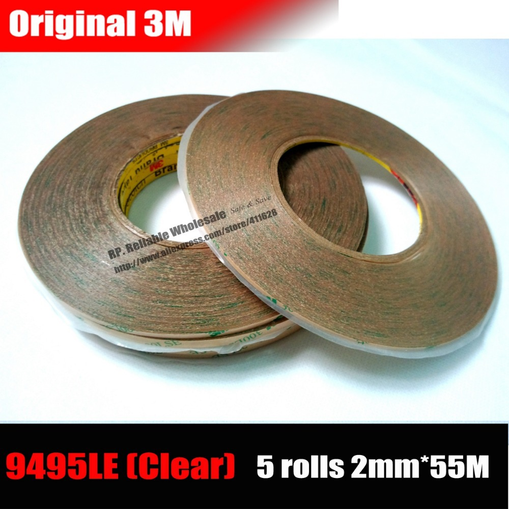 5 Rolls (2mm *55M) Strong Adhesion 3M 9495LE Transparent Double Adhesive Tape for phone Tablet Mini Pad Touch Screen Camera Lens 2 rolls 1 5mm 2mm 50m strong adhesive 3m black double sided glue sticker for samsung galaxy nokia touch screen lcd dispaly