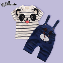 Baby Boys Girls Brand Clothing Sets Cartoon Panda Stripe Print Short Sleeve T-shirt+Bib Overall Kids Clothes Casual Outfit Suits