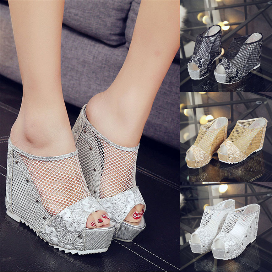 Summer Sandals Women Shose Ladies Wedge Flip-Flops High-Heel-Shoes Hollow for -30
