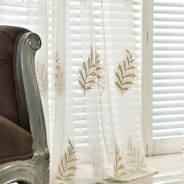 Langsam Seele Beige Weiß Hellblau Weizen Blume Vorhang Wohnzimmer  Schlafzimmer Bestickte Verlässt Vorhänge Für Tüll Küche