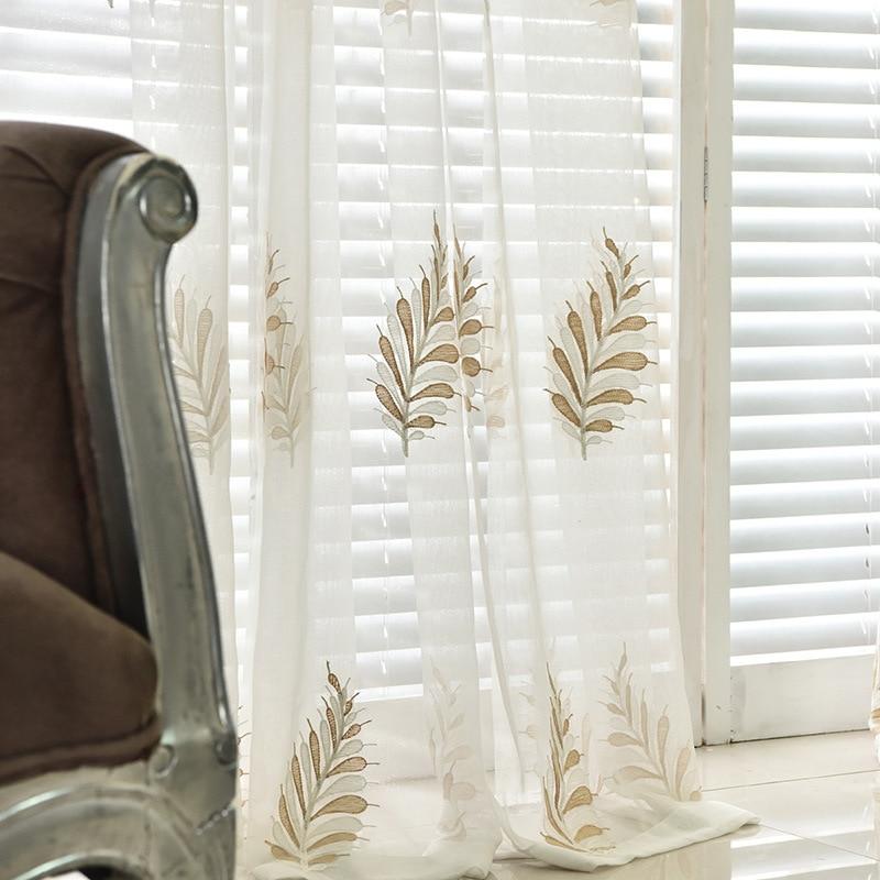 Slow Soul Beige White Light Blue Wheat Flower Curtain