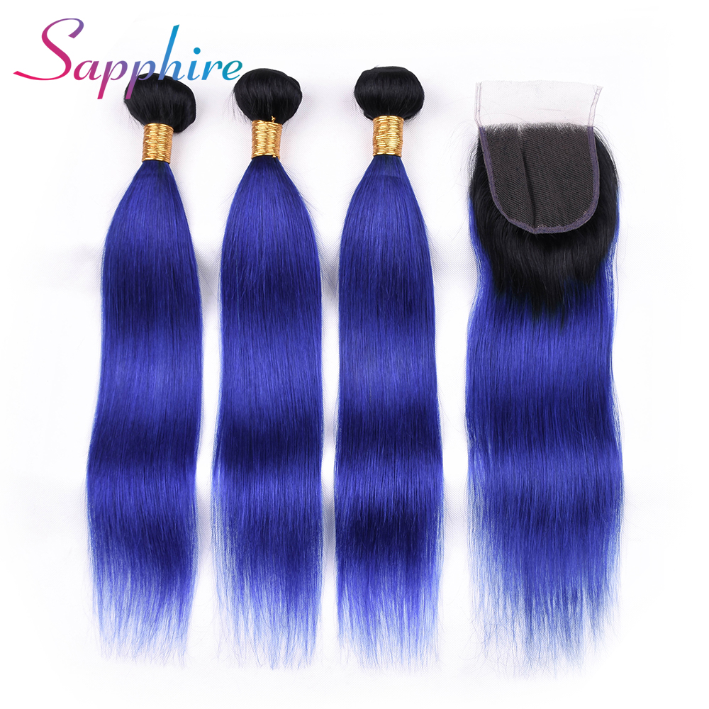 Sapphire Straight Hair Weaving 3 Bundles With Closure #T1B/blue Color Part Lace Closure 100% Human Remy Hair Free Shipping